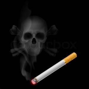 Cigarette And Skull Shaped Smoke