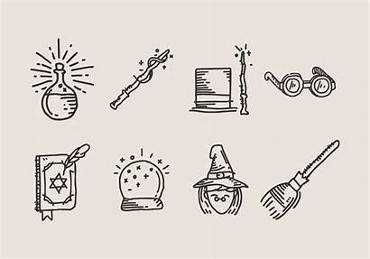 Doodles Hand Drawn Vector Wizardry Icon Potter