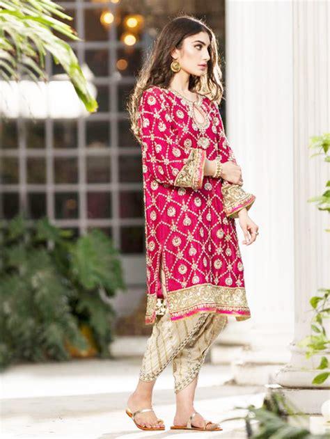 casual pant bridal pink kurta with golden tulip sheideas