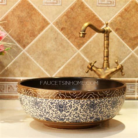 led kitchen faucets porcelain vessel sink vintage blue and white china single bowl