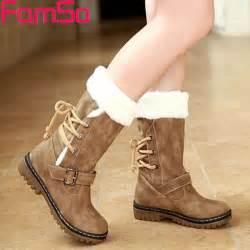 womens boots footwear free shipping 2016 winter boots buckle heels black mid calf waterproof fur
