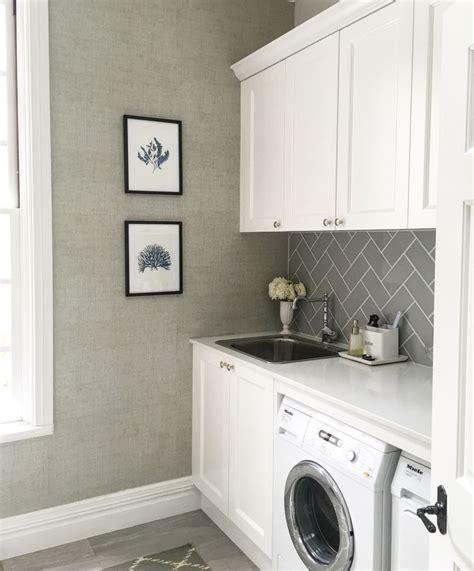 laundry thibaut raffia wallpaper grey subway tiles