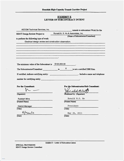 subcontractor letter  intent template examples letter