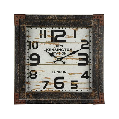 yosemite home decor track distressed brown faux shiplap wall clock cl19413237 the home depot