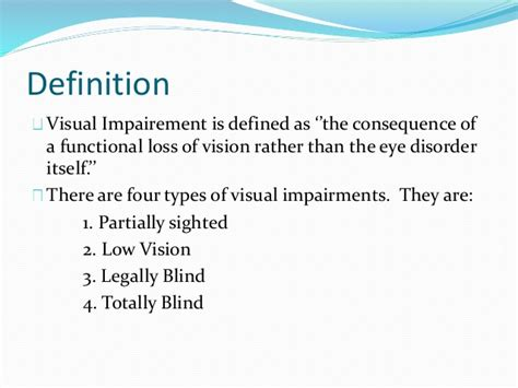 definition of legally blind visually impaired