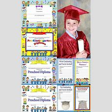 Preschool Diplomas, Certificates, Graduation Invitations Editable  Graduation, All And Preschool
