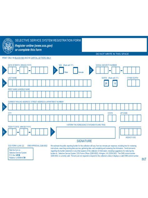 selective service system registration form selective service registration form 2 free templates in