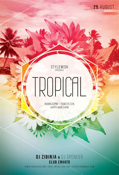 tropical poster template stockpsd net free psd flyers brochures and more