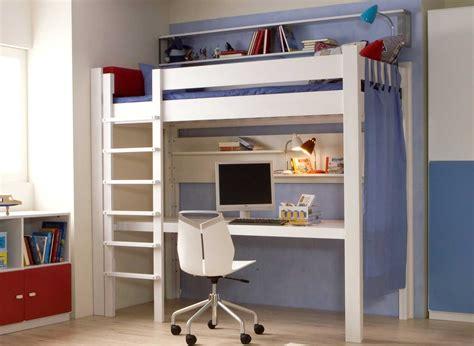 lit mezzanine bureau 90 x 200 cm en hêtre massif