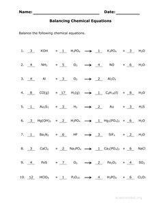 answer key   balance chemical equations worksheet