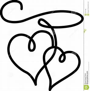 Two Hearts Black And White Clipart - Clipart Suggest