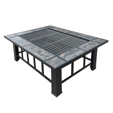 2 in 1 outdoor pit bbq table grill patio