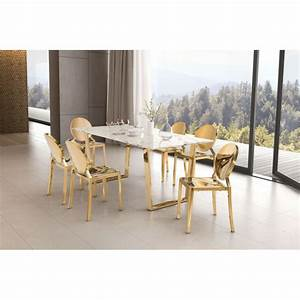 100652 - Atlas Dining Table Stone & Gold
