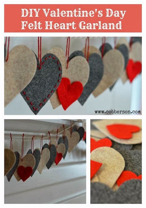 diy super cute  easy felt heart valentines garland