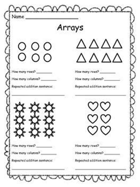 free resource arrays worksheet students at an array