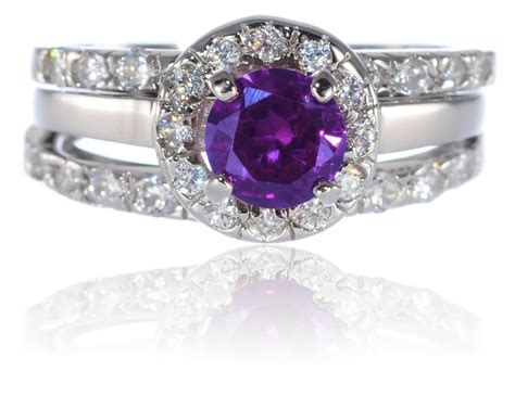 white gold sterling silver brilliant amethyst engagement wedding three ring ebay