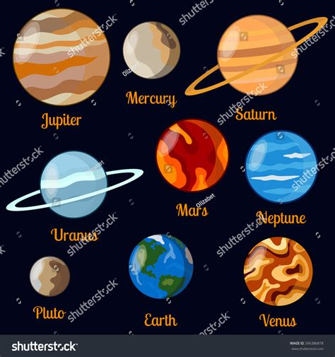 Solar System Planets Vector Set Nine Stock Vector ...