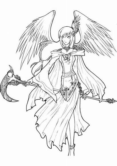 Angel Coloring Anime Lineart Death Manga Deviantart