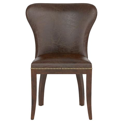cornelius top grain cigar brown leather wood dining