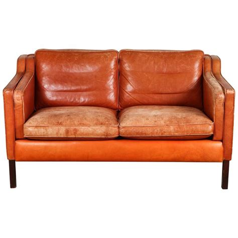 Orange Leather Loveseat by B 248 Rge Mogensen Mid Century Leather Loveseat Burnt Orange