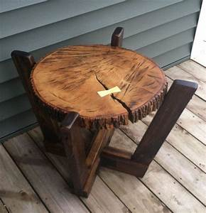 Log slab side table or coffee table with a dutchman wood for Log slab coffee table