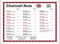 Printable 2019 Cincinnati Reds Schedule