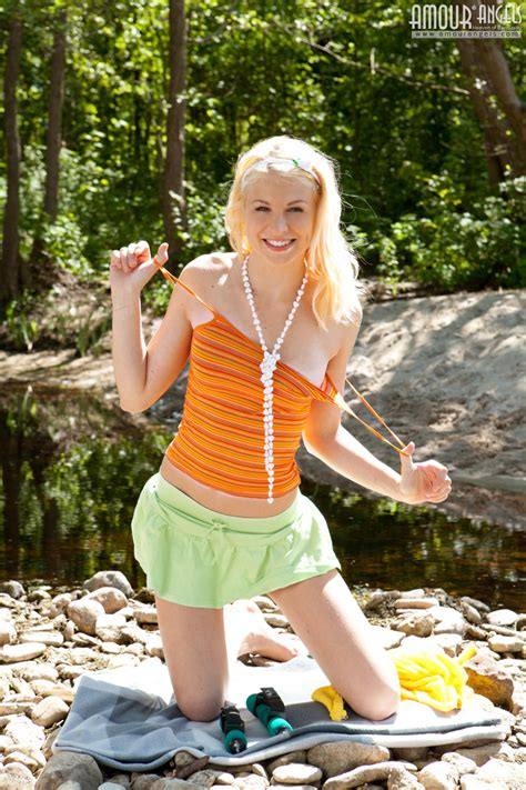 Charming Blonde Teen Beautie Stripping Clothes And Posing