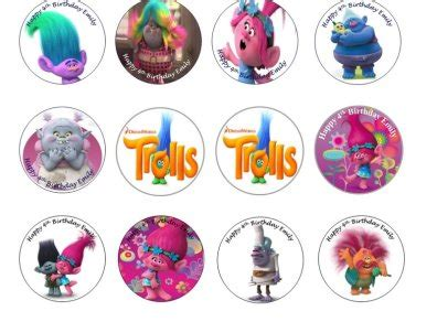 trolls edible cupcake toppers x 12 for sale in dalkey dublin from flour power