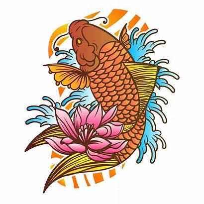 Koi Fish Tattoo Japanese Vector Traditional Wave