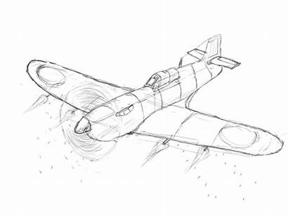 Ww2 Plane Drawing Airplane Drawn Fighter Aircraft