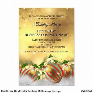 Red Silver Gold Holly Baubles Holiday Party Invitation