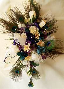 peacock feather wedding bouquet package bridal ivory