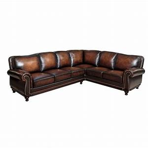 abbyson living nizza woodtrim 3 piece leather sectional With 3 piece brown leather sectional sofa