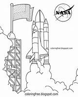 Coloring Space Rocket Nasa Shuttle Drawing Printable Launch Kennedy Solar Printables United Complex States Planet Apollo Spaceship Pad Lunar Lander sketch template