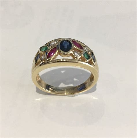 yellow gold ring  colored stones size  ebay