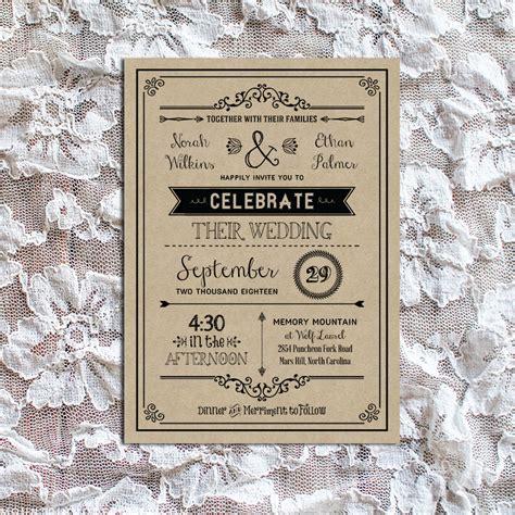 diy wedding invitations templates black rustic vintage diy wedding invitation set