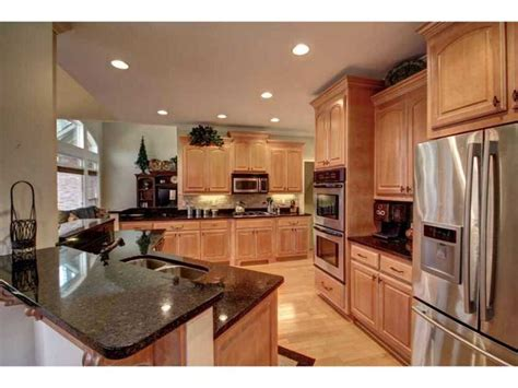 kitchen colors with light wood cabinets kitchen stainless steel dark granite counter tops light