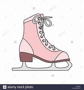 Ice skates line art drawing on white background Stock ...