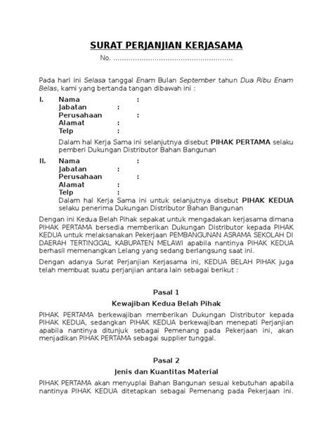 Kontrak Kerjasama Produksi Blogversations Com