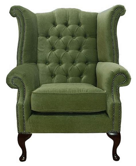 Green Armchair by Albury Wing Chair Green Leather Sofas Traditional