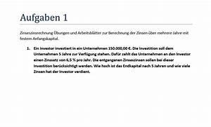 Zinseszins Zinssatz Berechnen : zinseszinsrechnung zinseszinsformel aufgaben formel ~ Themetempest.com Abrechnung