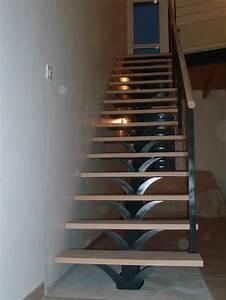 Escalier Droit Bois : escalier droit marches bois limon central m tal pose ~ Premium-room.com Idées de Décoration