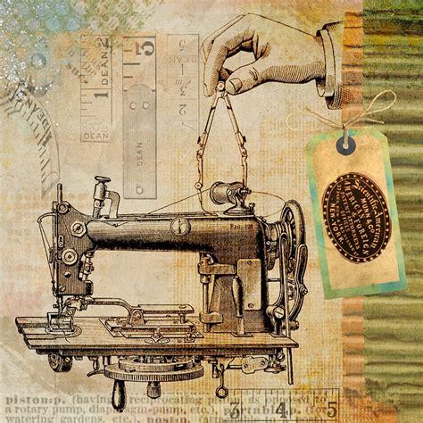 illustration sewing vintage machine steampunk