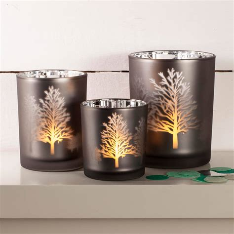 3998 tea light votives tree silhouette mirror candle holder by thelittleboysroom