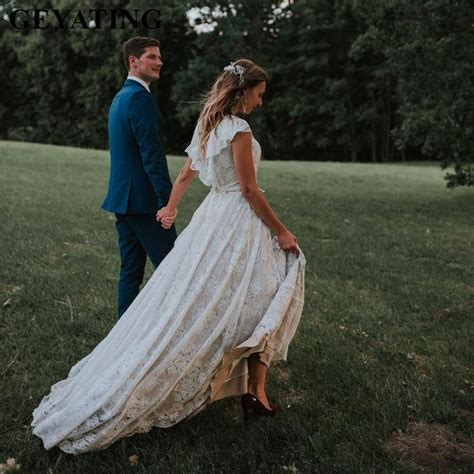 Rustic Lace Boho Champagne Country Style Wedding Dress
