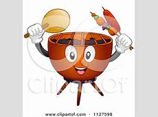 Clipart Happy Blond Woman Cooking Steaks On A BBQ