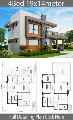 Home design plan 19x14m with 4 bedrooms Modern house