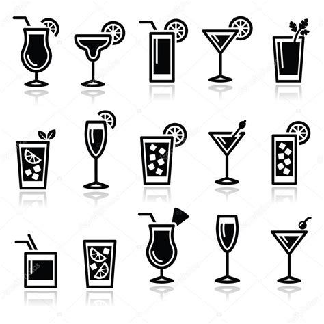 mixed drink clipart black and cocktails getränke gläser vektor icons set stockvektor