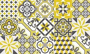Tapis Vinyle Carreaux De Ciment Ginette Jaune Moutarde