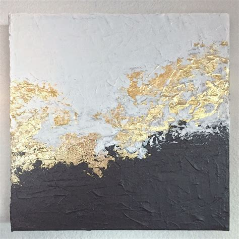 Abstract Black Gold Painting by White And Black Gold Foil Leaf Foiling Paintings
